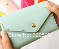Mobile Phone Soft Leather Bag Golden Crown Lambskin Card Bags for Iphone 4 Case Free Shipping