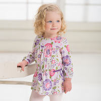 Daveballe spring 100% cotton print long-sleeve dress baby skirt female db741