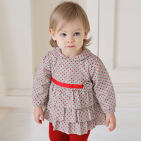Dave davebella infant spring skirt 2014 long-sleeve 100% db378 cotton one-piece dress