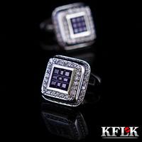 Kflk full rhinestone blue cufflinks cuff quality nail sleeve cufflinks male 1132