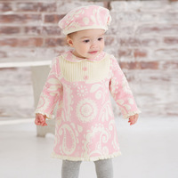 Davebella spring and autumn plus velvet long-sleeve thermal print one-piece dress infant skirt db329
