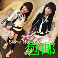 Free shipping Girls spring clothing 2014 navy style piece set child spring set school uniform Children's Clothing