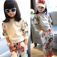 Free shipping Child set female children's child autumn clothing baby spring 2014 child sports set