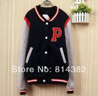 2pcs/lot Girls Leisure Badge Letter Baseball Shirt Sweater Hoodie Coat Jacket Ladies Tops Clothing Mixed Colors Free Shipping
