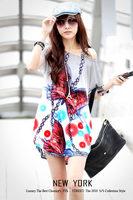 New 2014 Best Price Women's Fashion Flower Print Short Sleeve Sexy Silk Cotton Spring Summer Autumn Women Casual Dress 40 Colors