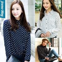 Fress shipping women blouses spring 2014 New White Navy Women Shirts Polka Dots Chiffon Vintage Blouse Long Sleeve XNS 1716