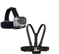 Go pro Harness Adjustable Elastic Chest Gopro Belt +  Head Strap Mount strap with Plastic Buckle For Gopro hero 4 3  Accessories