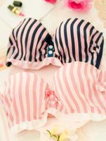 2015 роскошных белье intimates женщин белье Сексуальное push up бюстгальтер и трусики студент полосатый лифчик комплекты белья