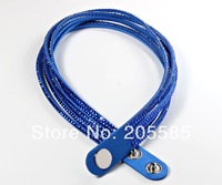 Free shipping hot sale Cool Fashion Leather Artificial Crystal Charms Bracelets Wrap