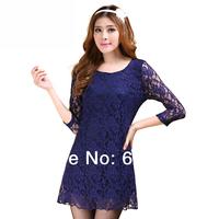 CC941# 2014 New Arrival Sexy O-Neck 3/4 Sleeve Lace Chiffon Dress Cocktail Mini Dress XXL XXXL XXXXL