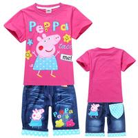 New arrival 2014 summer girls clothing sets peppa pig cartoon print children casual suit o-neck t-shirt + jean shorts 2pcs set