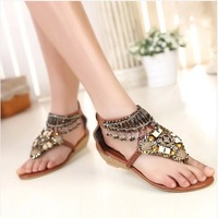 EUR size 34-41 Best Selling Spring Ethnic Sandals Fashion Short Wedge 3 Cm Women Casual Beading Sandal Shoes Plus Size B149-2