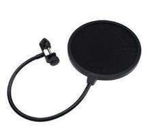 estudio micrófono doble capa micrófono viento pantalla pop filtro/montaje giratorio/máscara evitado para hablar grabación, cuello de cisne negro(China (Mainland))