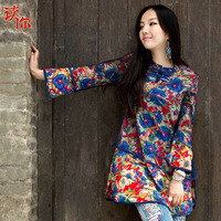 New 2014 National trend women's top painting spring akkadian embroidery national trend one-piece dress