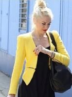 fashion Vintage Long Sleeve  Casual  Blazer Women  UK Boucle Tweed Wool Yellow Zip Women Clothing Blazers Outerwear Coats
