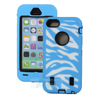 For IPhone 5C Blue Case 3-Piece Hybrid ZEBRA HIGH IMPACT COMBO HARD RUBBER CASE + PEN A140-F