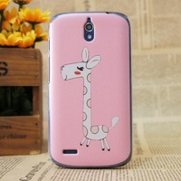 Free Shipping Cute Cartoon Pink Deer Design Proctective Cover Hard PC Case Back Cover For Huawei G610 +Free Screen Films