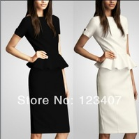 Fashion Casual Summer Women Celebrity Style O-neck Short Sleeve Shift Party Cocktil Midi Dresses size S M L XL