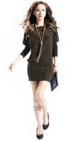 2014 Spring Women Slim Thin Package Hip Long-sleeved Big Yards Bat Sleeve Knit Dress Free Shipping Retail and Wholesale