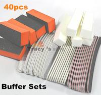 Free Shipping 40pcs Sanding Nail Art Beauty Care Files Block Kits Manicure PedicureTools100/180 Sandpaper Curved Buffers Sets