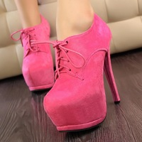 Free Shipping Thin Thin Minimalist Fashion Sexy High-Heeled Waterproof Suede Lace Deep Mouth Singles Shoes