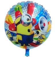 50pcs/lot 18inch Round Cartoon Minions Aluminum Foil Balloons Birthday Party Graduation Decoration Balloon Free Shipping