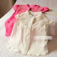 5pcs Children girl's  children's baby clothing vintage chest jacquard elegant short-sleeve shirt f6021