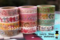 2014new 1lot=12pcs washi masking cartoon DIY tape/cute adhesive tape / DIY sticker label/wholesale