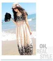 Free Shipping Bohemia Sleeveless Floral Chiffon Dress Long Dress Romantic Beach Dress 2774