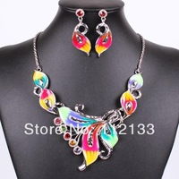 New 2014 Desinger Alloy Oil Drip Silver Rhinestone Costume Jewelry Sets Wedding Earrings Necklaces & Pendants For Women Party