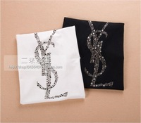 men's T-shirt  2014 new fashion men brand T-shirt 100% cotton rhinestones Letters T shirt  men Free shipping