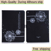 High Quality Magnetic folio Dandelion Pattern Grain Leather flip Case Cover For iPad mini 2 Free Shipping DHL CPAM HKPAM