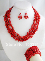 MN-353 Amazing Elegant African Coral Beads Necklace Jewelry Set Fit Wedding Party Gift For Girls