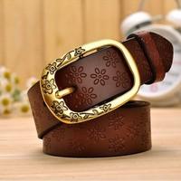 Vintage genuine leather belts plum buckle Belts all-match women's cowhide belt denim Women pants strap genuine leather belts