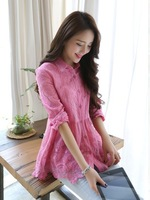 2014 spring and summer women lace shirt  top fashion long-sleeve basic shirt female high quality
