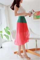 1pcs The new summer 2014 han edition color matching chiffon waist irregular skirt dress free shipping