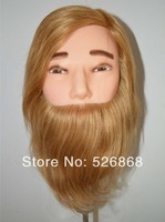 """Free Shipping brand 20"""" Hairdressing SALON TRAINING HEAD 100% Real HUMAN Hair male head with clamb"""