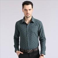 2014 New Spring Casual men shirt Cotton long sleeve Skull shirts green gray Size: S-XXL