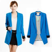 Fashion slim small suit jacket female candy color medium-long no button slim blazer outerwear female