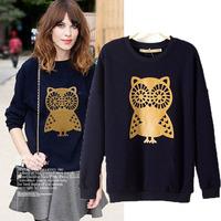 Fashion women's o-neck sweater owl pattern plus velvet thickening thermal sweatshirt basic shirt top female