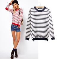 2013 autumn women's fashion all-match pliableness stripe o-neck sweater patch love sweater female