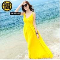 Miss a holiday beach dress Bohemian dress Summer wear condole belt dress big show thin cotton beach dress code