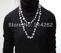 wholesale 53inch natural Baroque genuine freshwater pearl  and sea shell pearl  Sweater necklace 121