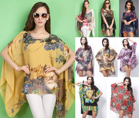 2014 New Fashion Spring Summer Women Chiffon Blouses 4XL 5XL 6XL Plus Size Oversized Blouse Dress Batwing Sleeve Free Shipping