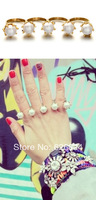 Free Shipping 2014 Newest Vintage Hollywood Capsule Every Finger Pearl Rings 4 Fingers Rings Factory Price No MinOrder