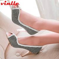 VINLLE 2014 new Womens Shoes High Heels Peep toe Pumps high thin heel women Pumps size 34-39
