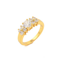 Fashion 24K Gold Plated CZ Classic Ring