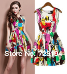 2014 hot !Spring and summer European and American style multi-color print dress Slim women dress free shipping