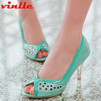 VINLLE 2014 new platform thin heels open toe sandals sexy princess women's high-heeled women Pumps size 34-40