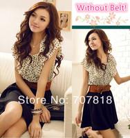 Without Belt! Korean Women Summer New Fashion Chiffon Dress Short-sleeve Dots Polka Waist Mini Beige+Black Free Shipping